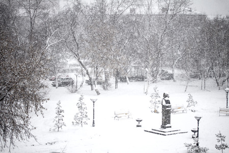 spring snowfall in the city photo