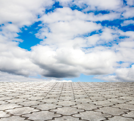 paving stone and blue sky Stock Photo
