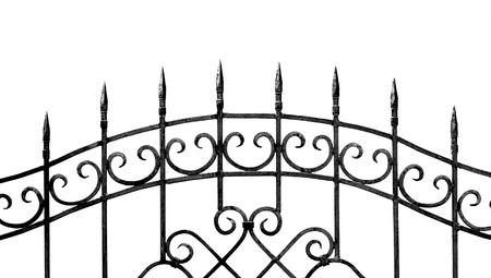 smithery: forged metal fence on a white  Stock Photo
