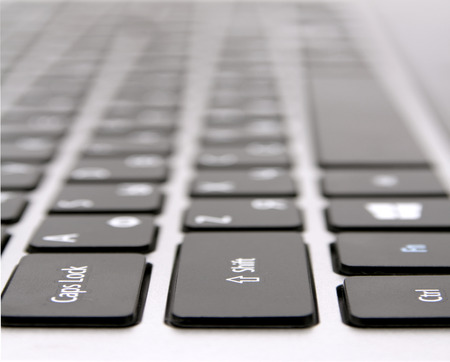 black keyboard with white letters, macro photo