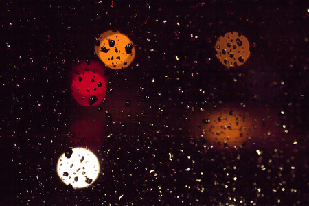 bokeh on the glass from the rain photo