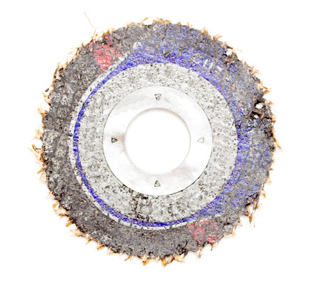 stainless steal: Old abrasive disk for metal grinding, cutting isolated on white background
