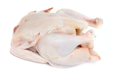 carcass meat: chicken carcass meat on a white background Stock Photo