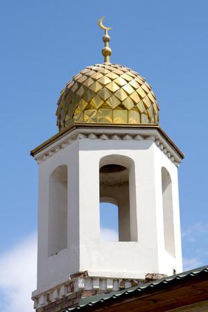 prayer tower: Muslim prayer tower on sky background