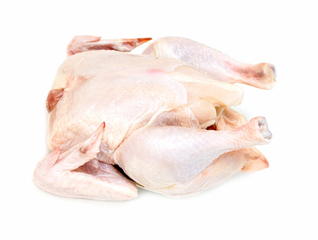 carcass meat: chicken carcass meat on a white  Stock Photo