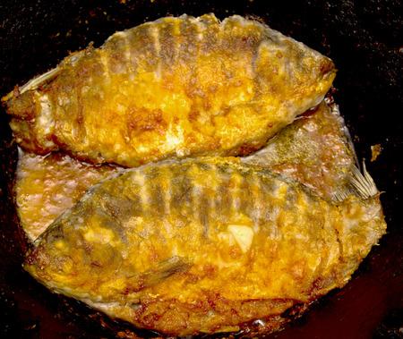 karausche: gebratenen Fisch Karausche Lizenzfreie Bilder