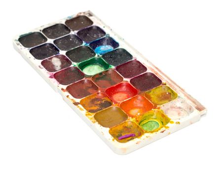 Set of watercolor paints old