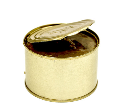 tinned goods: Canned fish in tin can isolated on white Stock Photo