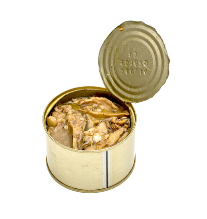 hermetic: Canned fish in tin can isolated on white Stock Photo