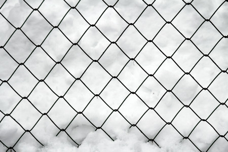 metal mesh winter in the snow photo