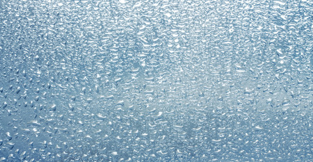 inclined: Drops of rain on the inclined window (glass) Stock Photo
