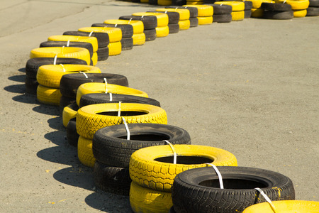 rubber tires on a sports track photo