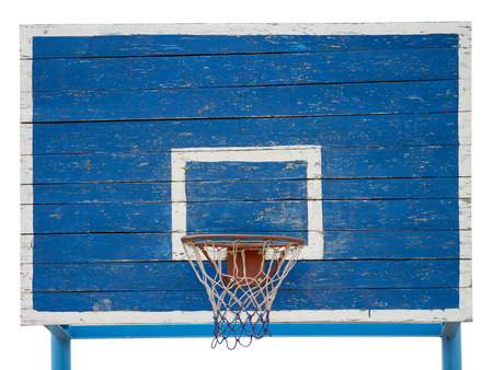 iron hoops: wooden board for basketball in the street Stock Photo