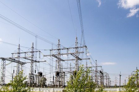 electric power station: Electric wires at a power station