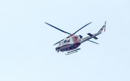 mustafa: ANTALYA, TURKEY - June 7, 2015: Coast Guard Helicopter during parliamentary elections in Turkey June 7, 2015.