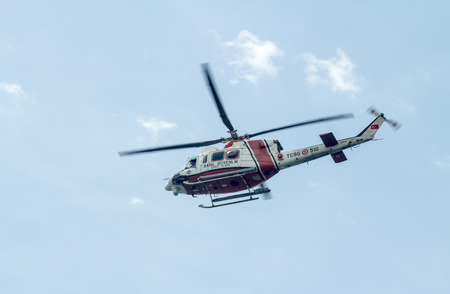 parliamentary: ANTALYA, TURKEY - June 7, 2015: Coast Guard Helicopter during parliamentary elections in Turkey June 7, 2015.