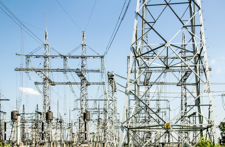 electric power: Electric wires at a power station