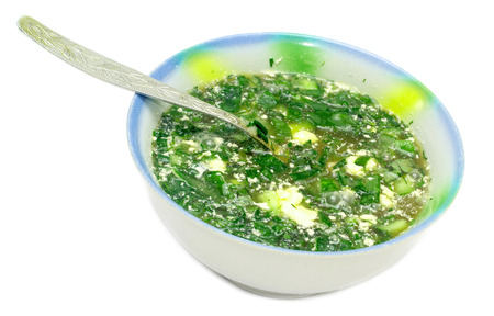 cold soup: Cold Soup with Vegetables Stock Photo