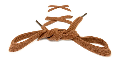 shoelace: knotted shoelace on a white background Stock Photo