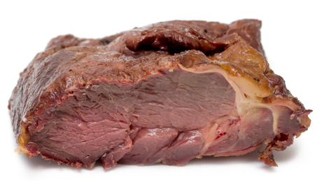 horse meat: smoked horse meat on a white background