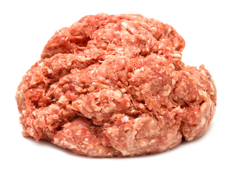 meaty: minced meat on a white background