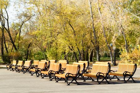 seating: bench seating, yellow