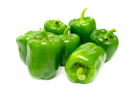 green pepper: ripe green pepper on a white background Stock Photo
