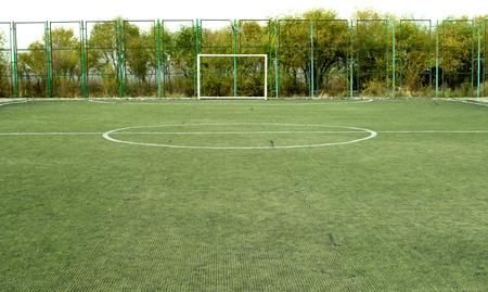 kickball: football pitch, goal on artificial grass