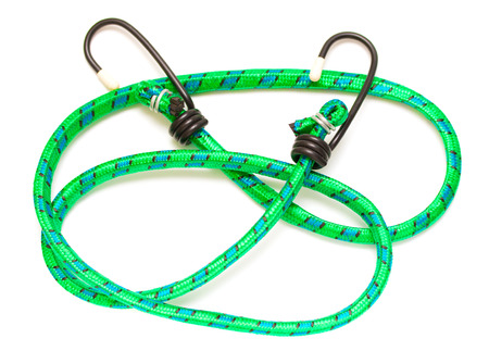braided flexible: green braided nylon stretch cord on a white background