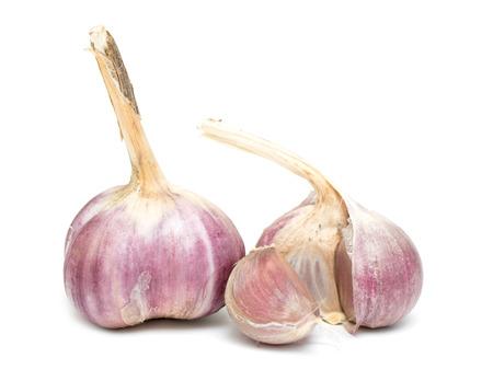 garlic: heads of garlic on a white background