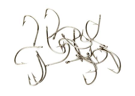 fishinghook: Steel fishing hooks on a white background