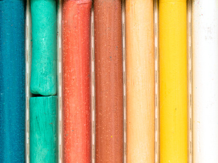 white chalk: multicolored crayons ripples