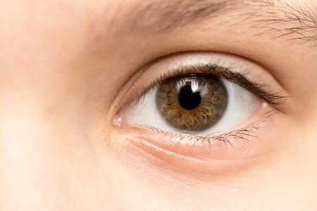 Vue rapprochée d'un oeil brun - pas de maquillage sur Banque d'images