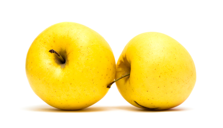 yellow apple: yellow apple on a white background Stock Photo