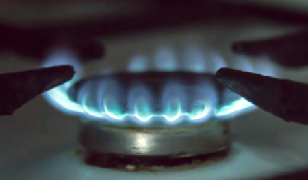 gas burner: Gas burner on stove. Selective focus. Stock Photo