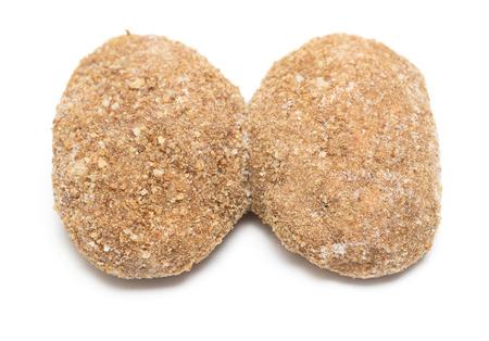 caked: meatballs, burger, hamburger patties isolated on white background