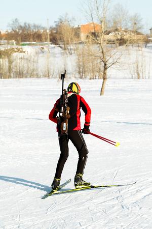 composure: PETROPAVLOVSK, KAZAKHSTAN- JANUARY 24, 2016:  biathlon skiing, training youth in Kazakhstan, winter landscape Editorial
