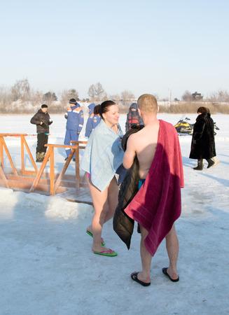 pila bautismal: PETROPAVLOVSK, KAZAKHSTAN- JANUARY 19, 2015: The Baptism of Russia celebration. Orthodox church Holy Epiphany Day. Weather -25