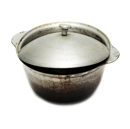 stockpot: kettle, old black pot with lid isolated on white background
