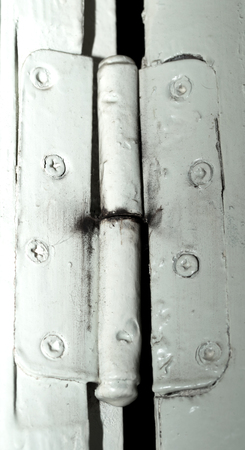 hinges: Door hinges, old painted Stock Photo