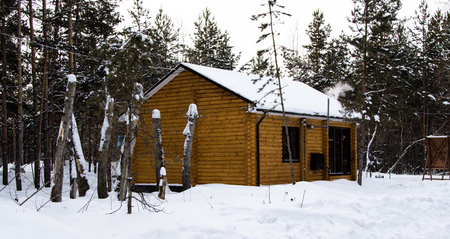 porch scene: wooden house in the woods, winter Stock Photo