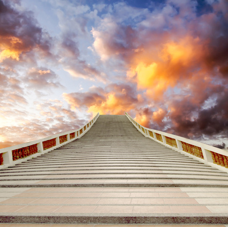 stairway: concrete staircase going up into a blue sky