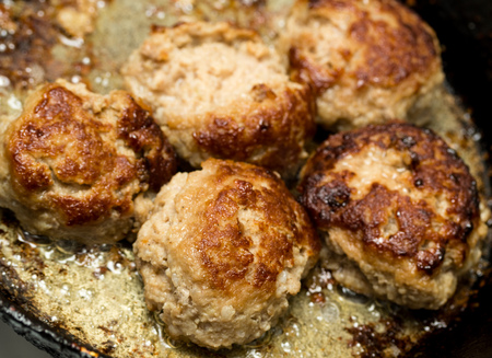 cutlets: cutlets fried in a pan Stock Photo