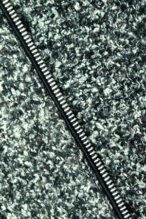 fastener: fastener on wool fabric Stock Photo