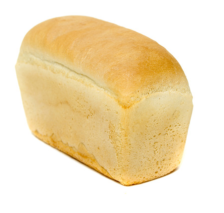Pan de pan blanco aislado sobre fondo blanco Foto de archivo