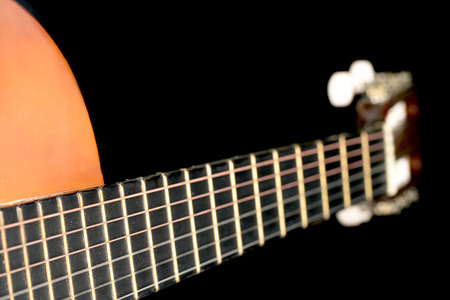 nylon string: Classical acoustic guitars . Close-up view.