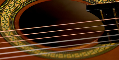 bout: Classical acoustic guitars . Close-up view.