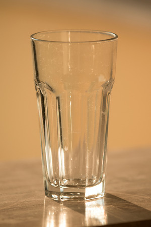 glass cup: dirty empty glass cup Stock Photo