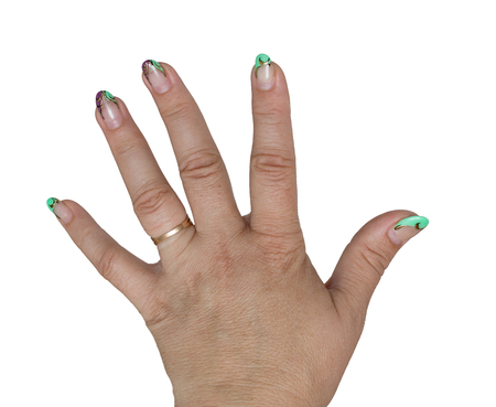 Womens hand painted nails Stock Photo