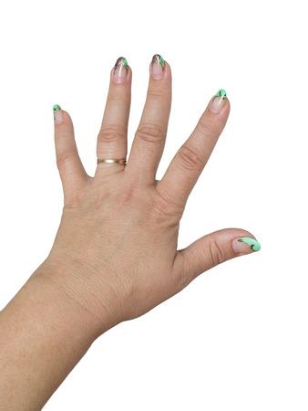 women's hand: Womens hand painted nails Stock Photo